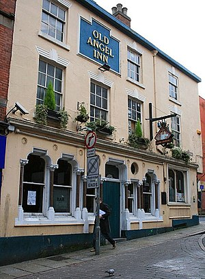 Old Angel Inn - Showing the building before renaming as the Cock and Hoop
