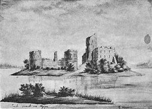 Napoleon Orda - Trakai on the Trakai Lake, pencil and watercolour, ca. 1877