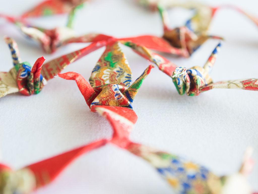 Origami Cranes folded by Takako Shimizu from Hiroshima (11050456756)