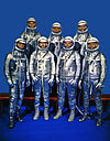 Project Mercury Astronauts, whose selection was announced on April 9, 1959, only six months after the National Aeronautics and Space Administration was formally established on October 1, 1958. Front row, left to right, Walter M. Schirra, Jr., Donald K. Slayton, John H. Glenn, Jr., and M. Scott Carpenter; back row, Alan B. Shepard, Jr., Virgil I. 'Gus' Grissom and L. Gordon Cooper.