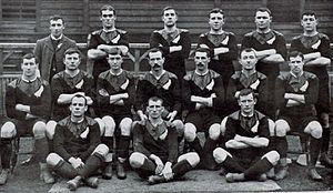 Billy Stead - Billy Stead did not play for New Zealand in their fixture against Wales on their 1905–06 tour, and his absence was considered a major factor in New Zealand's loss. Standing on the far left of the back row, he is pictured here posing with the team before the match.