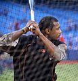 Orioles outfielder Adam Jones takes batting practice before the AL Wild Card Game. (30056425552).jpg