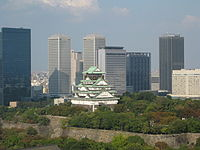 The keep of Osaka Castle viewed from the Osaka Museum of History