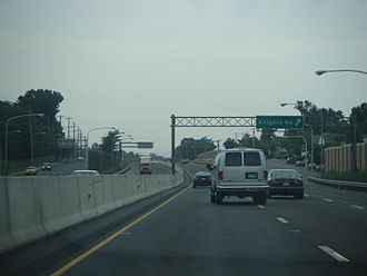 Pennsylvania Route 63 - PA 63 eastbound on Woodhaven Road in Philadelphia at Knights Road exit.