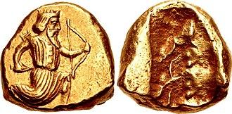 Persian daric - Image: PERSIA, Achaemenid Empire. temp. Artaxerxes II to Artaxerxes III. Circa 375 340 BC. AV Daric (15mm, 8.33 g)