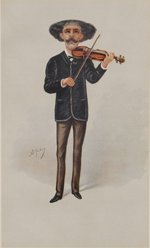 "Pablo de Sarasate - The familiar figure of Sarasate caricatured as a ""Man of the Day"" for Vanity Fair, 1889"