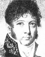 Black and white print shows a clean-shaven man with very curly hair. He wears a coat with a high embroidered collar.