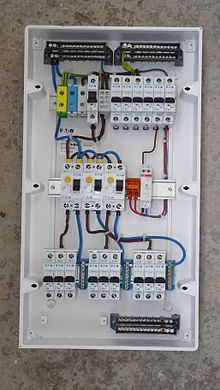 home wiring wikipedia rh en wikipedia org Boat Instrument Panel Wiring Diagrams Electrical Circuit Breaker Panel Board