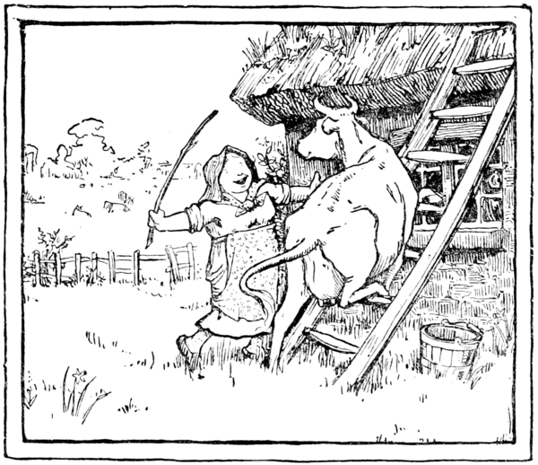 A smiling woman encourages a cow to climb a ladder