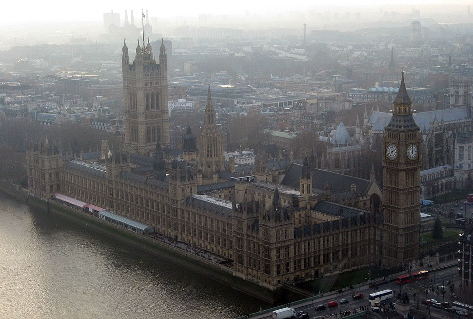 Palace of Westminster, from the London Eye, 18 December 2007