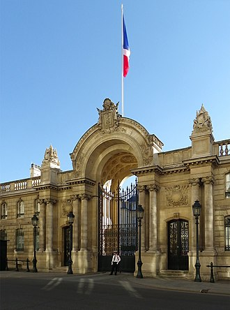 Rue du Faubourg Saint-Honoré - The entrance gate of the Élysée Palace, the official residence of the President of the French Republic