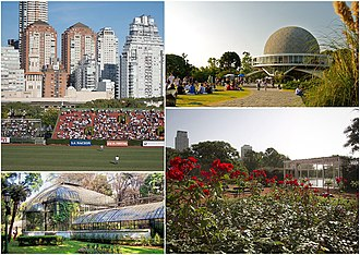 Palermo, Buenos Aires - Clockwise from top: the Polo Stadium, the Galileo Galilei planetarium, the Palermo Woods and the Botanical Garden.
