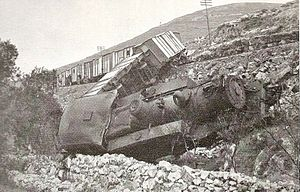 Sabotage - Palestine Railway's K class 2-8-4T steam locomotive and freight train on the Jaffa and Jerusalem line after being sabotaged by Jewish paramilitary forces in 1946.