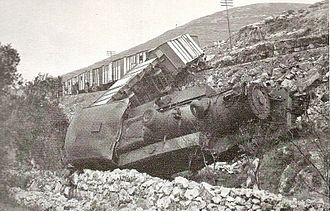 Jewish insurgency in Mandatory Palestine - Palestine Railway K class 2-8-4T steam locomotive and freight train derailed from the Jaffa and Jerusalem line after being sabotaged by Jewish insurgents in 1946