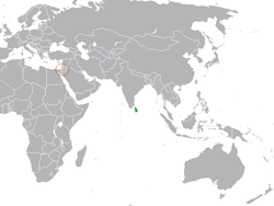 Map indicating locations of Palestine and Sri Lanka