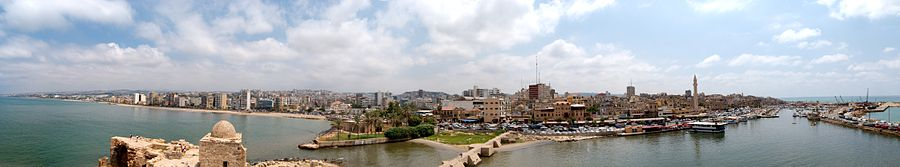 Panorama de Sidon vu du haut du château de la mer, 2009