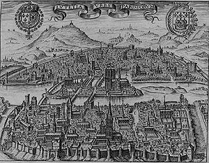 Wall of Charles V - View of Paris in the 1600s with the wall of Philippe Auguste (in the foreground) and the wall of Charles V (at the top of picture)