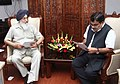 Parkash Singh Badal raised issues of his state relating to the Ministry of Road Transport, Highways and Shipping with the Union Minister for Road Transport & Highways and Shipping, Shri Nitin Gadkari, in New Delhi.jpg