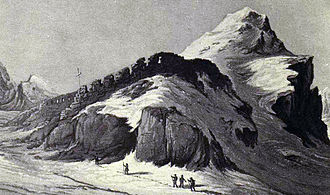 High Alps - Painted view of Theodul Pass (3,295 m) around 1800.