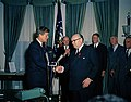 Paul-Henri Spaak is presented the Medal of Freedom by President John F. Kennedy.jpg