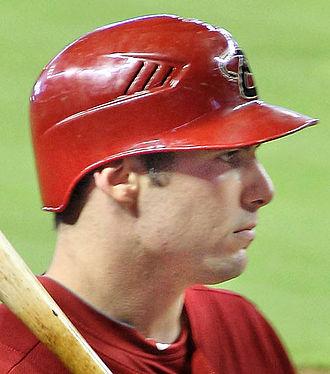 Batting helmet - Paul Goldschmidt wearing a batting helmet with only one earflap