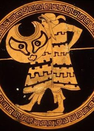 Peltast - A peltast with the whole of his panoply. Ancient Greek red-figure kylix.