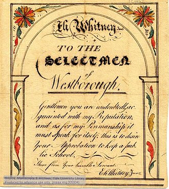 Eli Whitney - Petition by Whitney to the selectmen of Westborough to run a public school, with sample of his penmanship