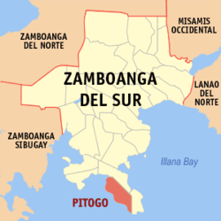 Map of Zamboanga del Sur with Pitogo highlighted