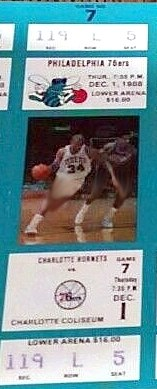 Philadelphia 76ers at Charlotte Hornets 1988-12-01 (ticket)