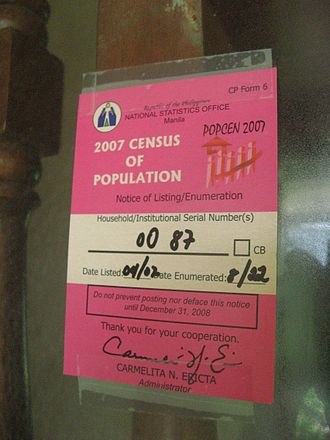 Philippine Statistics Authority - A 2007 Census notice posted on the gate of a residence.