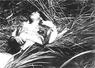 Phong Nhị and Phong Nhất massacre - A dying 21-year-old woman with her breasts cut out and left shot by South Korean marines. U.S. Marines transported her to the hospital, but she died soon after.