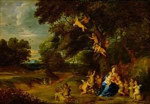 Pieter van Avont - Madonna and Child, St John the Baptist as a Boy and Angels in a Woodland Landscape