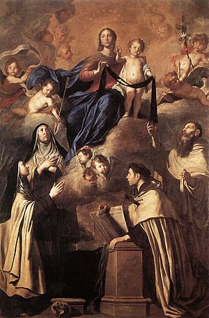 Carmelites - Pietro Novelli, Our Lady of Mount Carmel and Carmelite Saints (Simon Stock (c. 1165–1265) (standing), Angelus of Jerusalem (1185–1220) (kneeling), Mary Magdalene de Pazzi (1566–1607), Teresa of Ávila (1515–82)), 1641 (Museo Diocesano, Palermo).