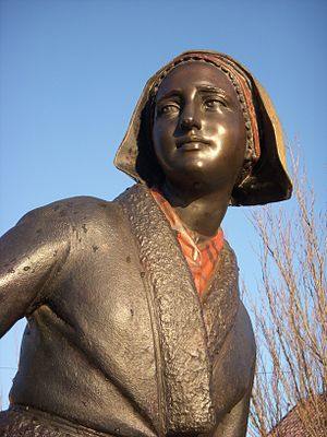 "Pilt Carin Ersdotter - Pilt Carin Ersdotter as a statue: ""Pilt-Carin"" by Peter Linde at Järla Sjö, Nacka."