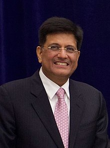 Piyush Vedprakash Goyal - (Born 13 June 1964) is an Indian politician and the current minister of Railways and Commerce in the Government of India. He was elevated to the Cabinet Minister position on 3 September 2017. He is currently a Member of Parliament for Rajya Sabha from the state of Maharashtra, and the Deputy Leader of Rajya Sabha. He was earlier the National Treasurer of the Bharatiya Janata Party (BJP). He headed the BJP Information Communication Campaign Committee and oversaw the publicity and advertising campaign of the party including the social media outreach for the Indian General Elections 2014. Goyal is the 2018 Carnot Prize Recipient for distinguished contributions to energy policy. Piyush Goyal has been allocated the cabinet ministry for Narendra Modi led NDA government in May 2019. He is currently taking charge as Minister of Railways and Minister of Commerce and Industry.