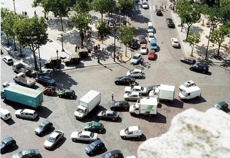 Place Charles-de-Gaulle from the Arc de Triomphe, July 2001