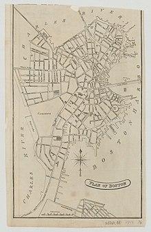 1813 карта Бостона Эдвард Коттон.  Изображение черно-белое, и показывает полуостров Бостона и его нерегулярных улиц, с рекой Чарльз на север и запад, и Бостонской гавань на восток.