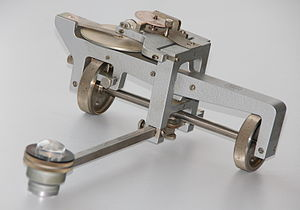 Planimeter - A linear planimeter. Wheels permit measurement of long areas without restriction.