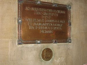"William Noble, 1st Baron Kirkley - Noble memorial plaque (""peace restored 1919"") in Westminster College, Cambridge"