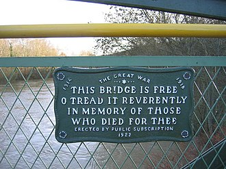 Coalport - Plaque half-way along the footbridge, commemorating those who died in the Great War.