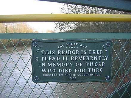 Plaque half-way along the footbridge, commemorating those who died in the Great War. Plaque on Coalport Memorial Bridge - geograph.org.uk - 292030.jpg