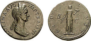 Pompeia Plotina - Pompeia Plotina coin, celebrating the Fides on the reverse.
