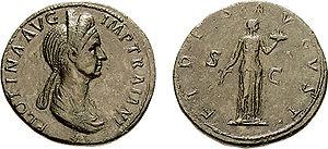 Fides (deity) - Pompeia Plotina coin, celebrating Fides on the reverse.