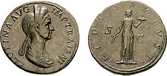 Fides (deity) - Pompeia Plotina coin, celebrating Fides on the reverse.