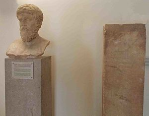 Plutarch - Portrait of a philosopher and Hermaic stele at Delphi Museum