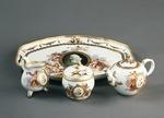 Porslin. Servis med bricka, porträtt och guld i dekoren - Hallwylska museet - 89190.tif