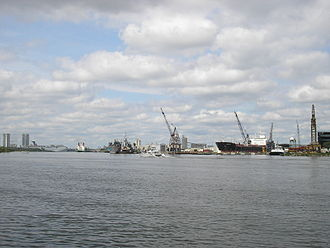 Tampa Bay - Facilities at Port Tampa Bay from Davis Islands, downtown Tampa at left.