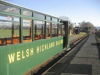 Welsh Highland Railway restoration - Train at WHHR station in Porthmadog