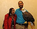 Posing for picture with Bald Eagle. (10595077804).jpg