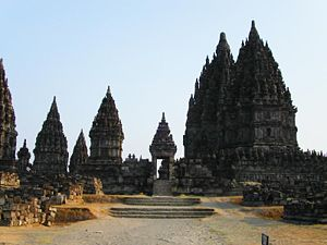 Chola government - Hindu temple complex at Prambanan in Java clearly showing Dravidian architectural influences.